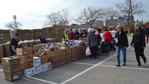 Volunteers collect food for parts of Brooklyn, Staten Island and New Jersey.